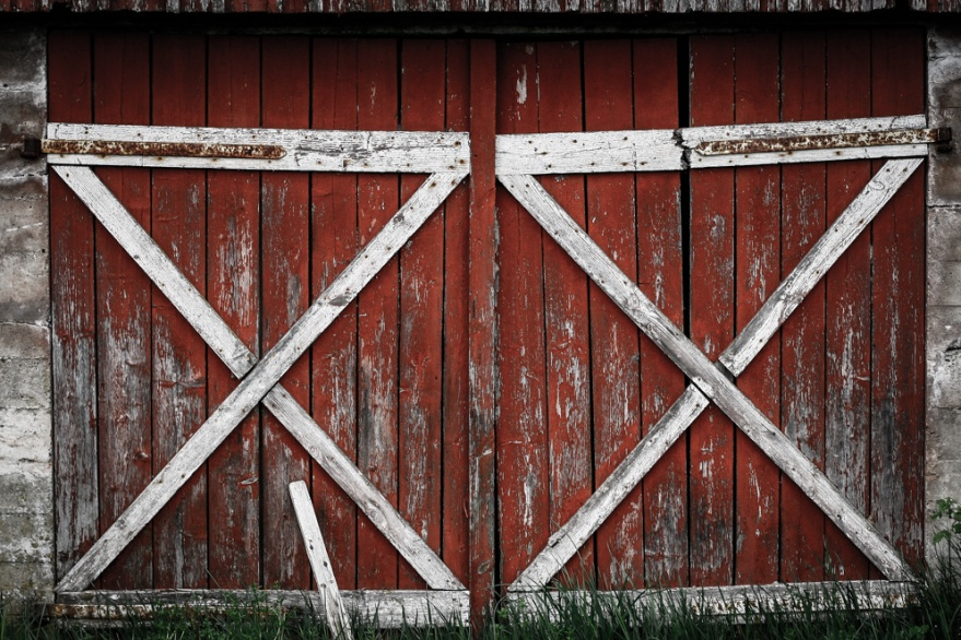 Red Old Barn Door